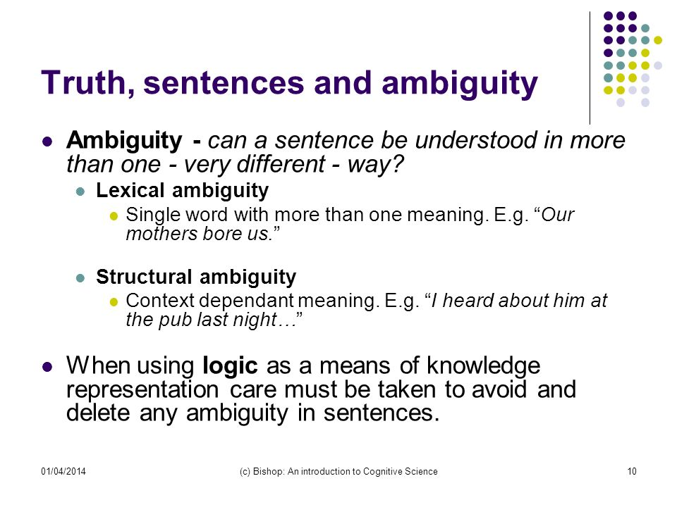 01/04/2014(c) Bishop: An introduction to Cognitive Science10 Truth, sentences and ambiguity Ambiguity - can a sentence be understood in more than one - very different - way.