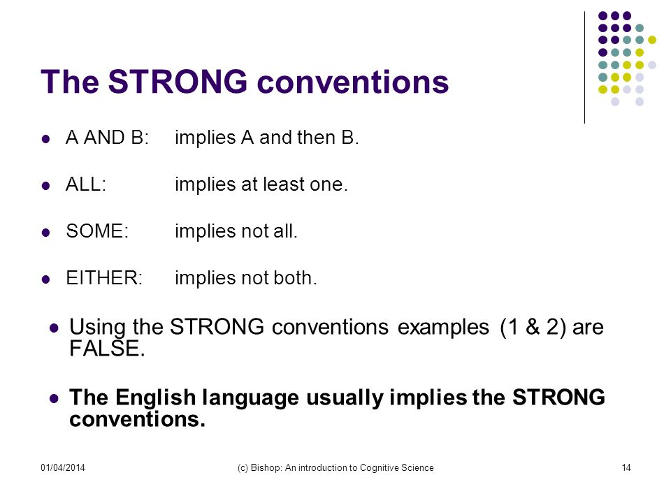 01/04/2014(c) Bishop: An introduction to Cognitive Science14 The STRONG conventions A AND B:implies A and then B.