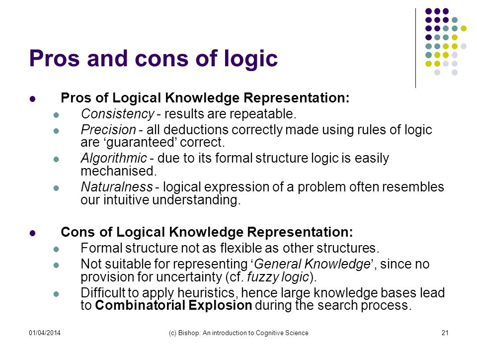 01/04/2014(c) Bishop: An introduction to Cognitive Science21 Pros and cons of logic Pros of Logical Knowledge Representation: Consistency - results are repeatable.