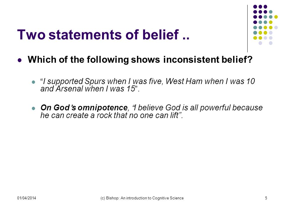 01/04/2014(c) Bishop: An introduction to Cognitive Science5 Two statements of belief..