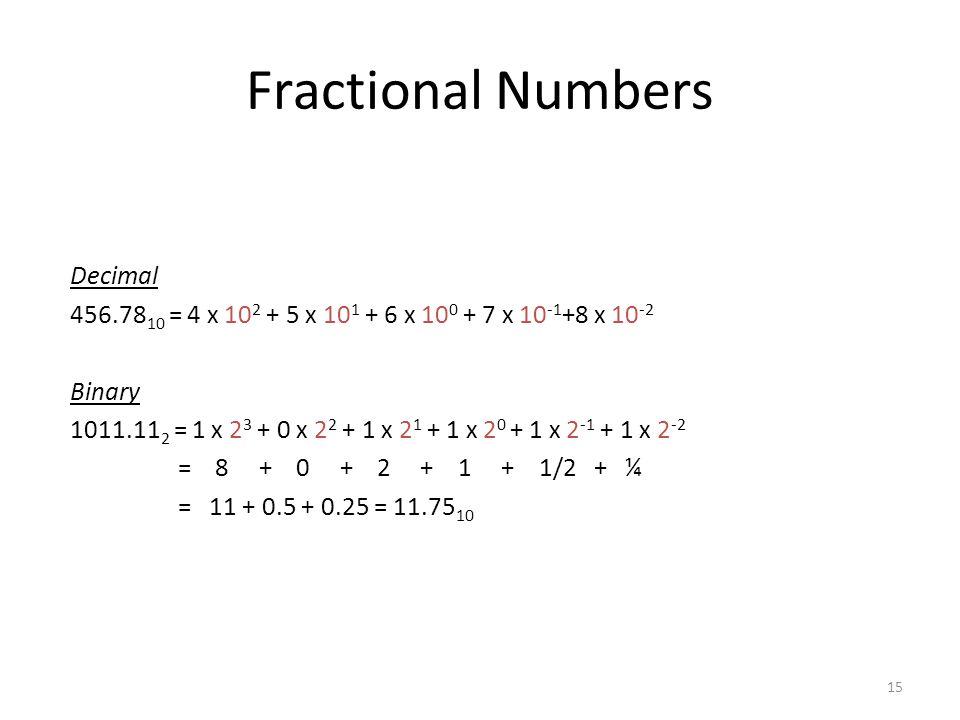 15 Fractional Numbers Decimal 456.78 10 = 4 x 10 2 + 5 x 10 1 + 6 x 10 0 + 7 x 10 -1 +8 x 10 -2 Binary 1011.11 2 = 1 x 2 3 + 0 x 2 2 + 1 x 2 1 + 1 x 2