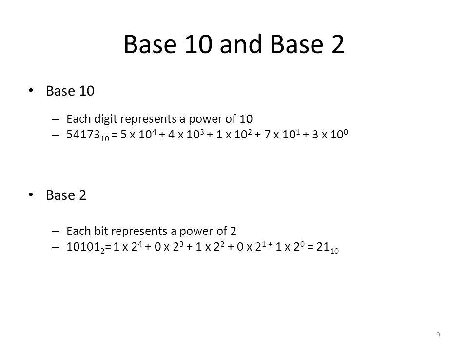 Base 10 and Base 2 Base 10 – Each digit represents a power of 10 – 54173 10 = 5 x 10 4 + 4 x 10 3 + 1 x 10 2 + 7 x 10 1 + 3 x 10 0 Base 2 – Each bit r