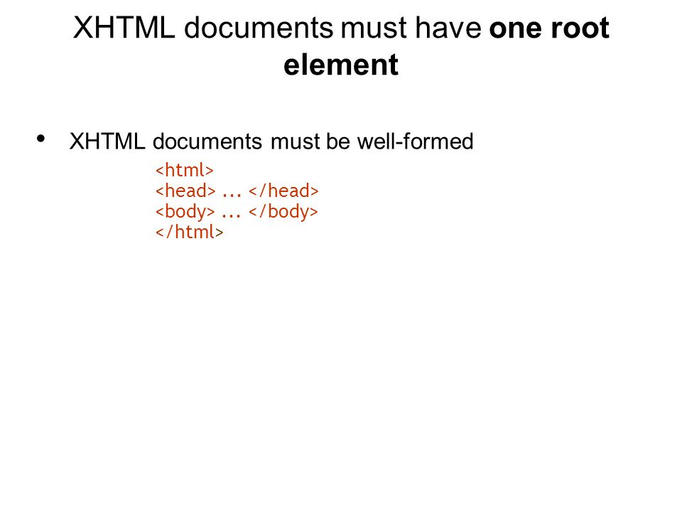 XHTML documents must be well-formed......