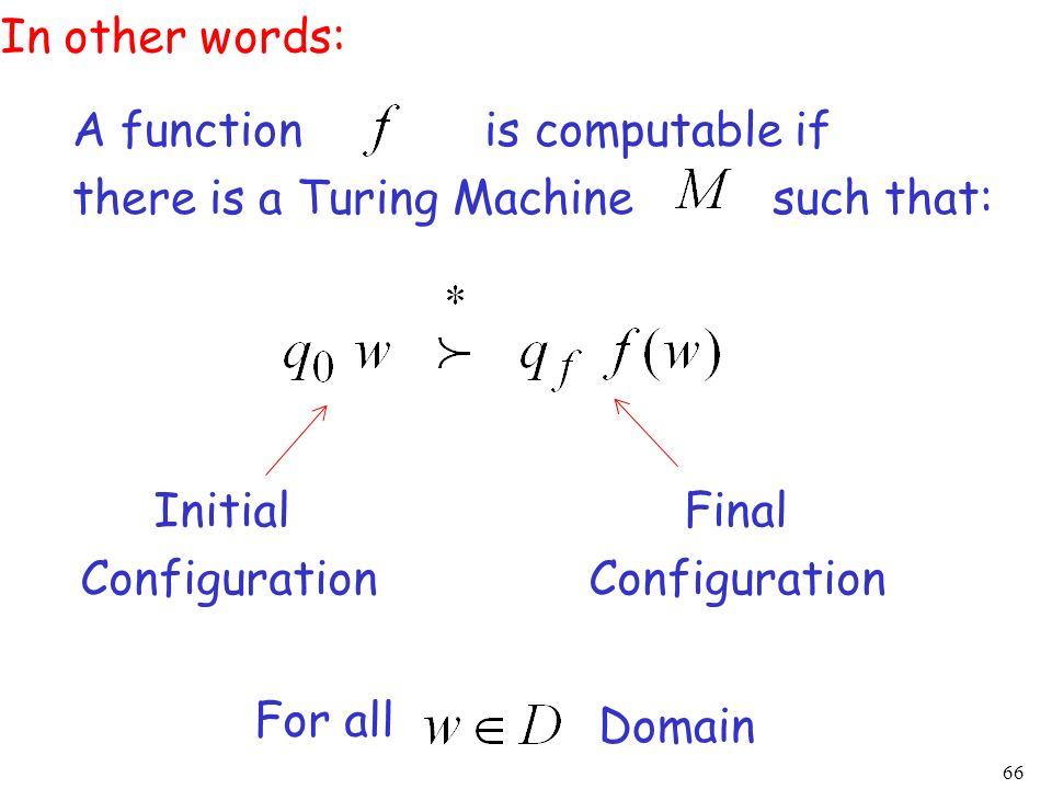 66 Initial Configuration Final Configuration A function is computable if there is a Turing Machine such that: In other words: Domain For all