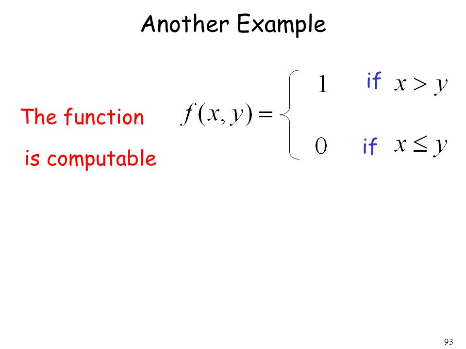 93 Another Example The function is computable if
