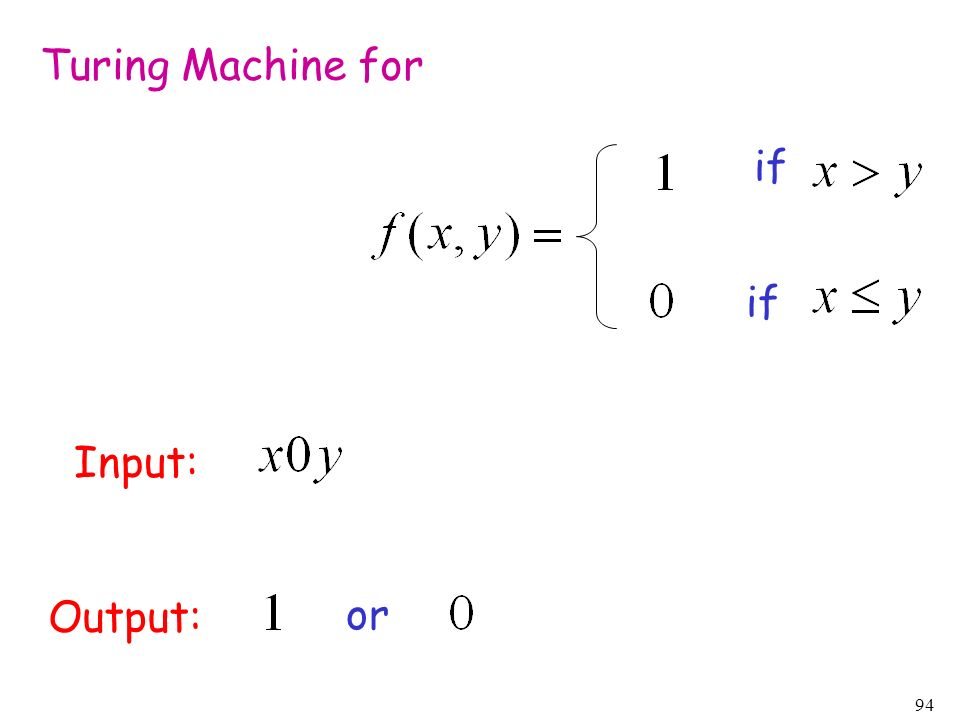 94 Turing Machine for Input: Output: or if