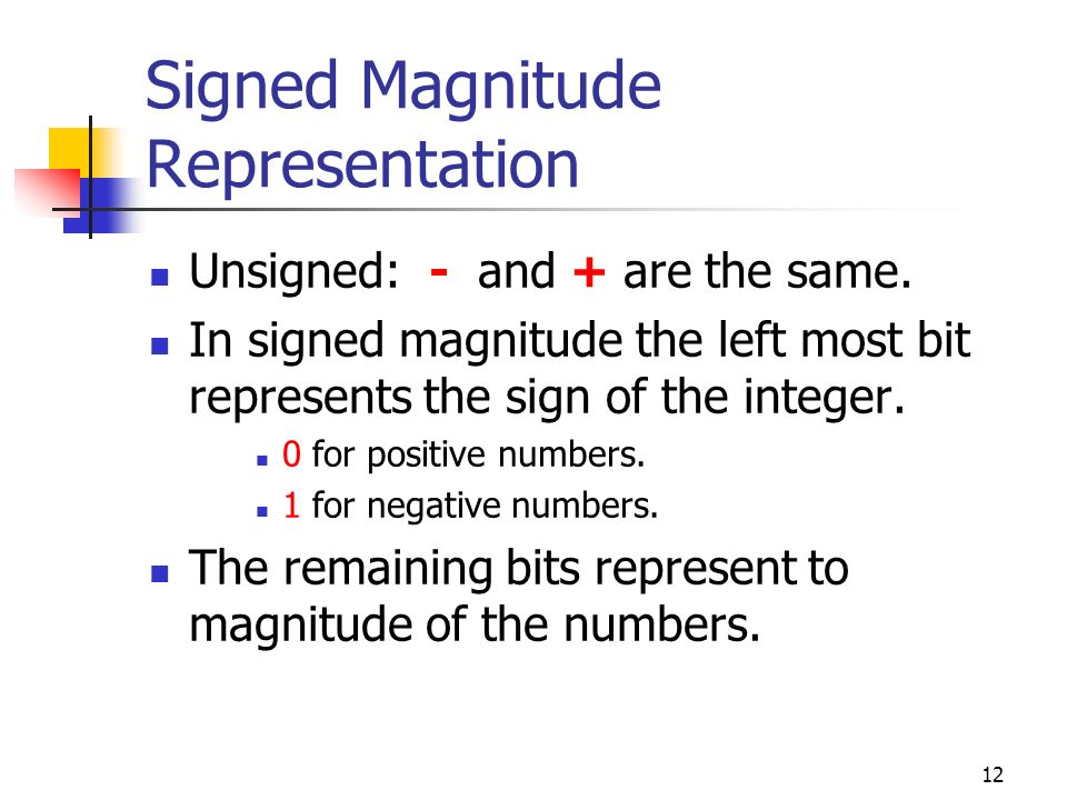 12 Signed Magnitude Representation Unsigned: - and + are the same. In signed magnitude the left most bit represents the sign of the integer. 0 for pos