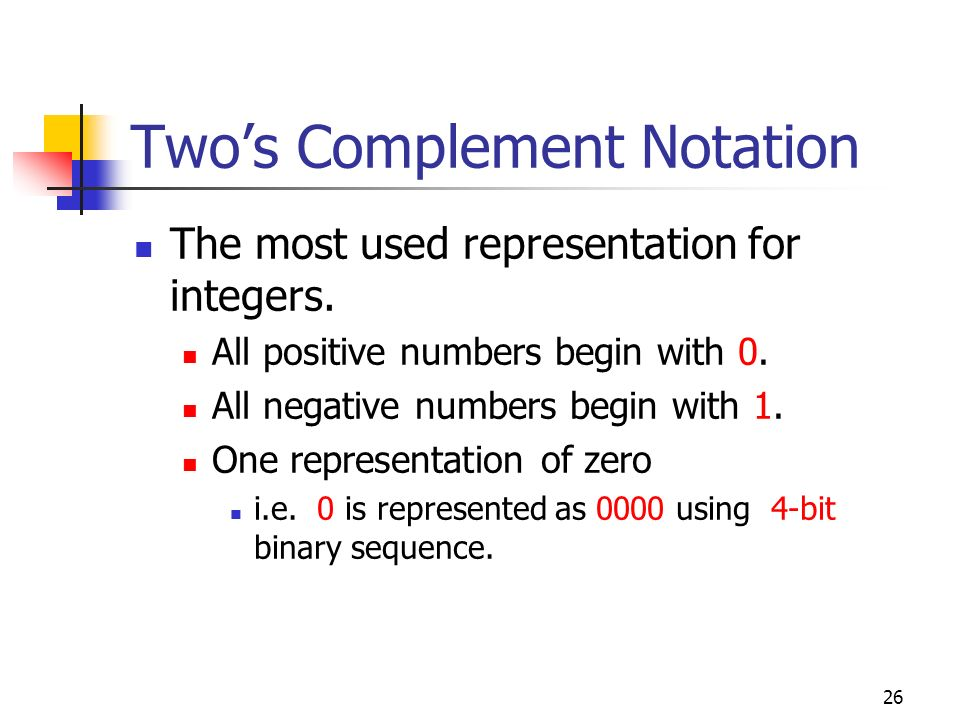 26 Twos Complement Notation The most used representation for integers. All positive numbers begin with 0. All negative numbers begin with 1. One repre
