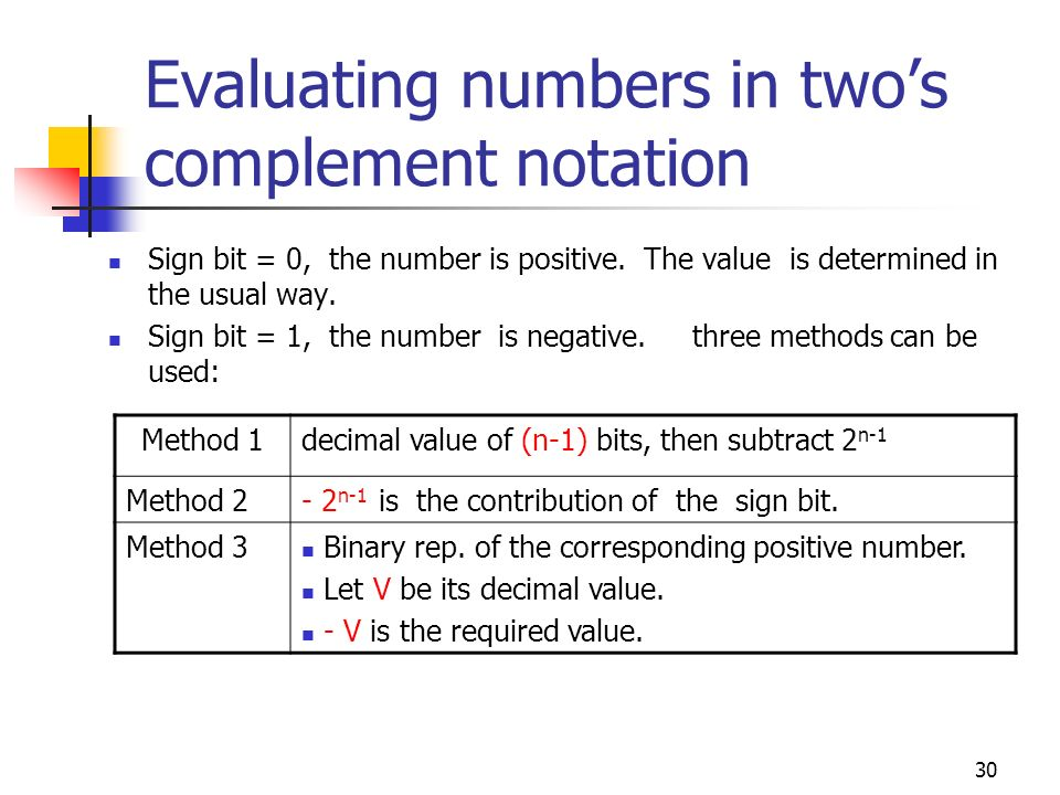 30 Evaluating numbers in twos complement notation Sign bit = 0, the number is positive. The value is determined in the usual way. Sign bit = 1, the nu