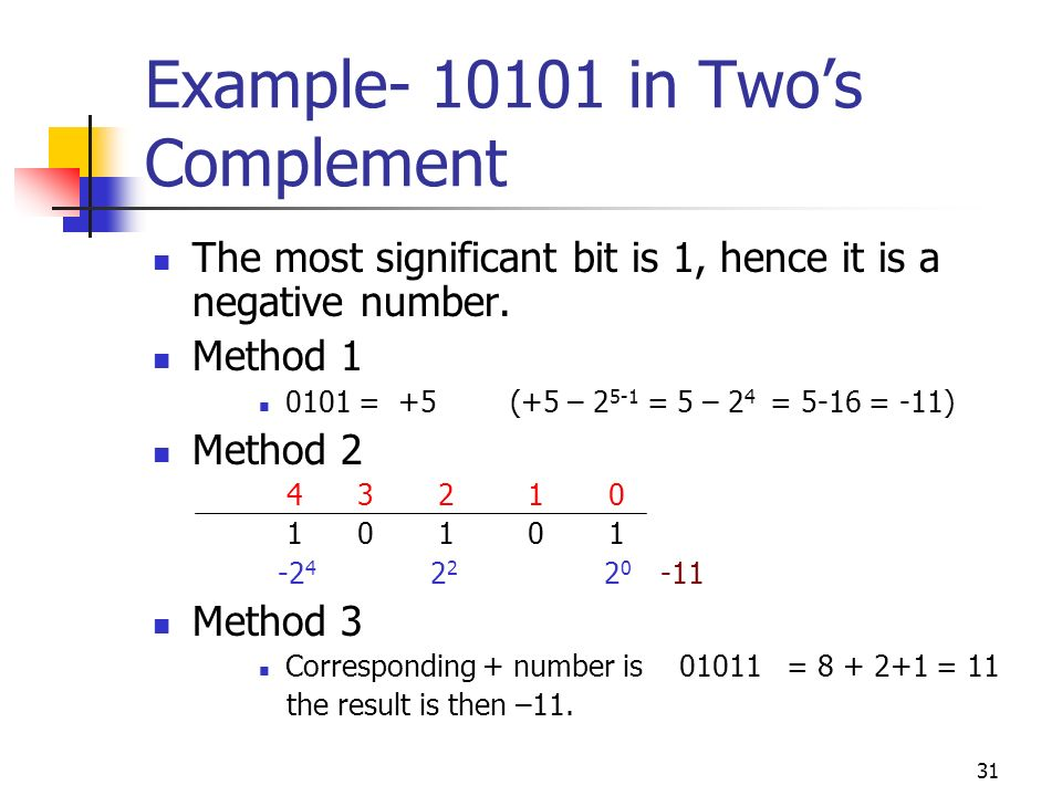 31 Example- 10101 in Twos Complement The most significant bit is 1, hence it is a negative number. Method 1 0101 = +5 (+5 – 2 5-1 = 5 – 2 4 = 5-16 = -