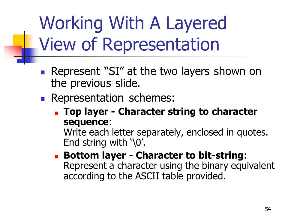 54 Working With A Layered View of Representation Represent SI at the two layers shown on the previous slide. Representation schemes: Top layer - Chara