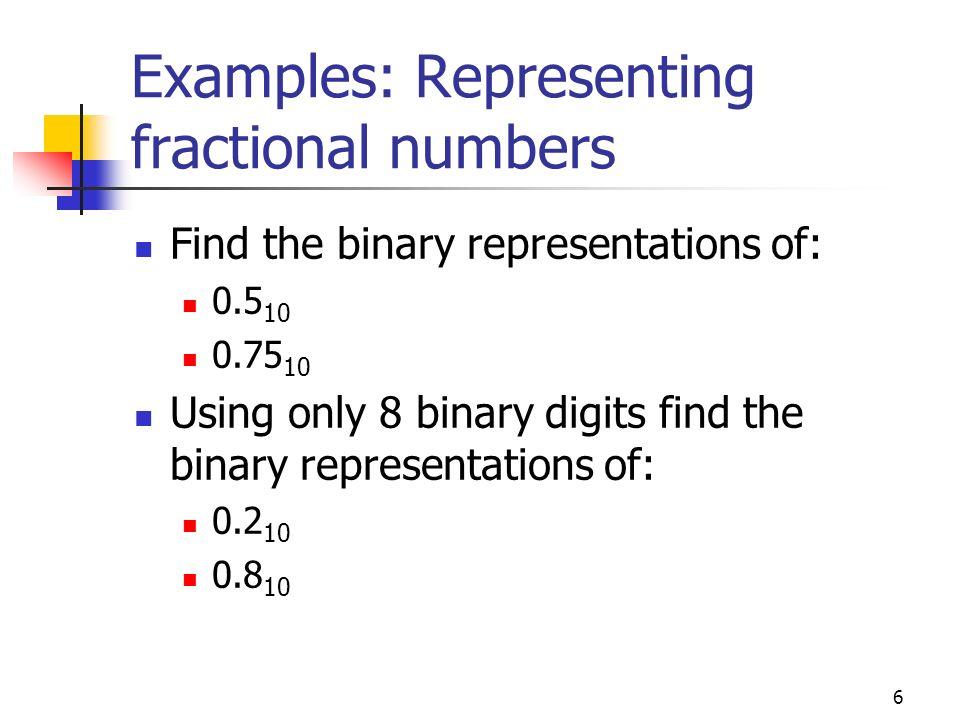 47 Representation in IEEE 754 double precision format It uses 64 bits 1 bit sign 11 bit biased exponent 52 bit mantissa SignExponentMantissa