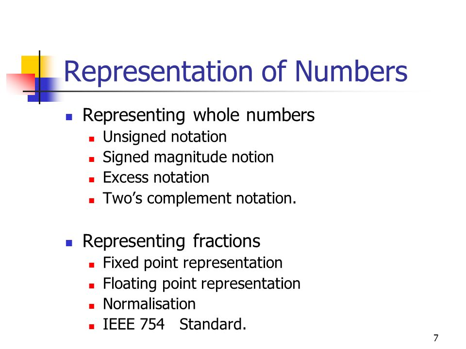 7 Representation of Numbers Representing whole numbers Unsigned notation Signed magnitude notion Excess notation Twos complement notation. Representin