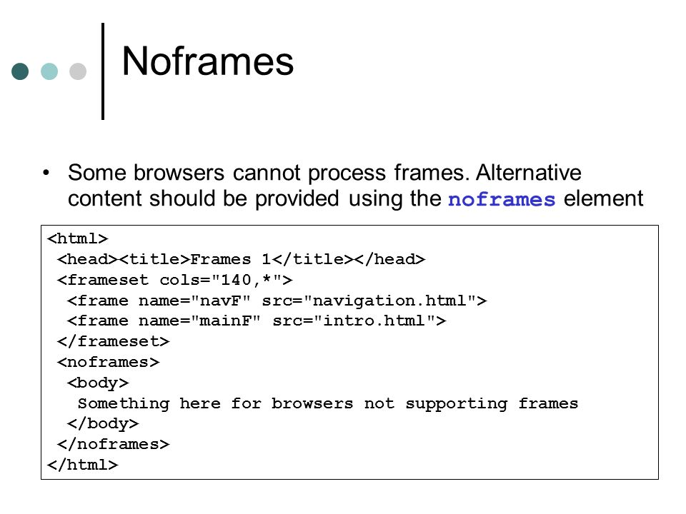 Noframes Frames 1 Something here for browsers not supporting frames Some browsers cannot process frames. Alternative content should be provided using