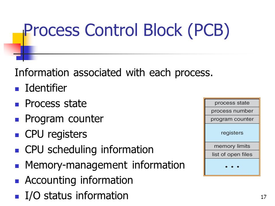 17 Process Control Block (PCB) Information associated with each process. Identifier Process state Program counter CPU registers CPU scheduling informa