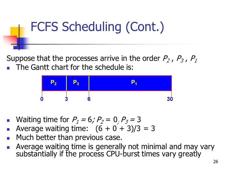 26 FCFS Scheduling (Cont.) Suppose that the processes arrive in the order P 2, P 3, P 1 The Gantt chart for the schedule is: Waiting time for P 1 = 6;