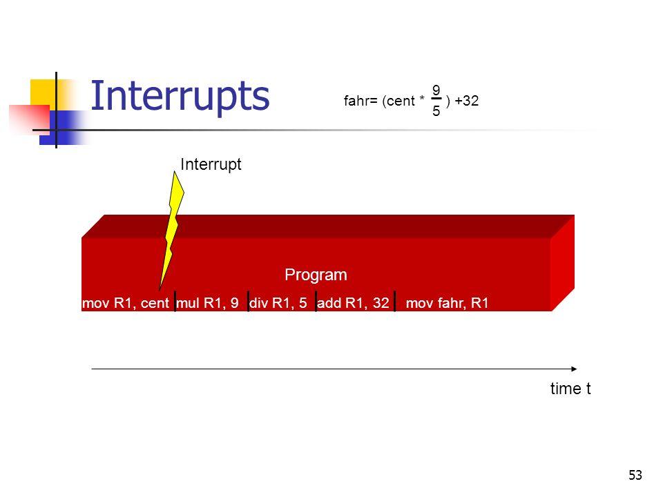 53 Interrupts Interrupt Program time t mov R1, centmul R1, 9div R1, 5add R1, 32mov fahr, R1 fahr= (cent * ) +32 9 5