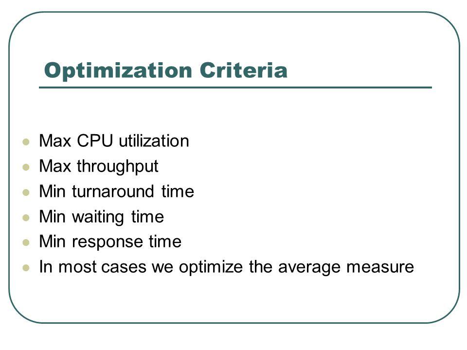 Optimization Criteria Max CPU utilization Max throughput Min turnaround time Min waiting time Min response time In most cases we optimize the average