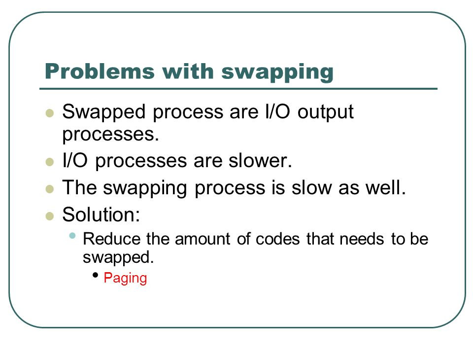 Problems with swapping Swapped process are I/O output processes. I/O processes are slower. The swapping process is slow as well. Solution: Reduce the