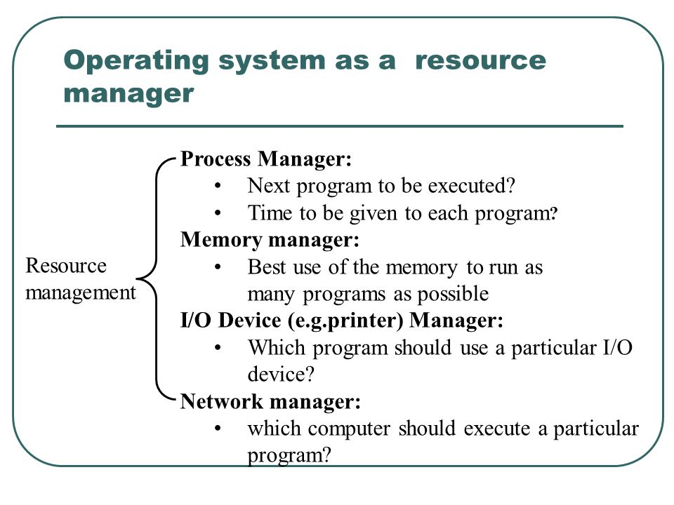 Operating system as a resource manager Resource management Process Manager: Next program to be executed? Time to be given to each program ? Memory man