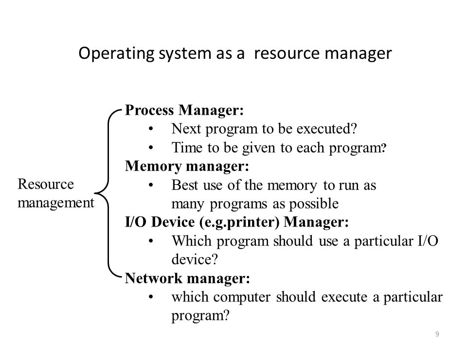 9 Operating system as a resource manager Resource management Process Manager: Next program to be executed? Time to be given to each program ? Memory m