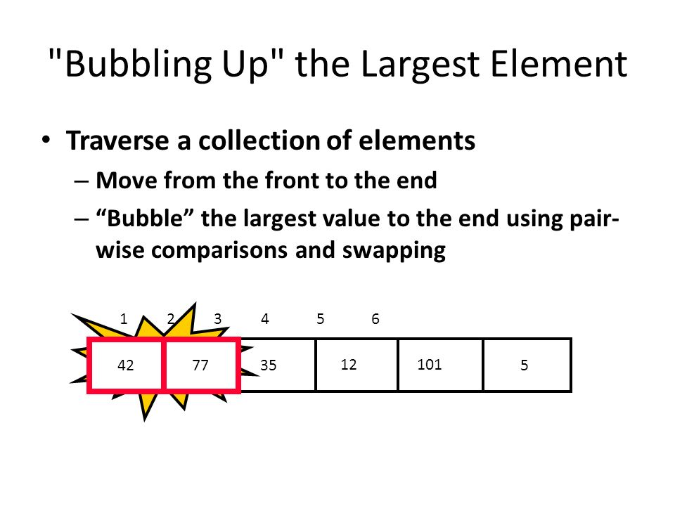 Bubbling Up the Largest Element Traverse a collection of elements – Move from the front to the end – Bubble the largest value to the end using pair- wise comparisons and swapping 5 12 3542 77 101 1 2 3 4 5 6 Swap 4277