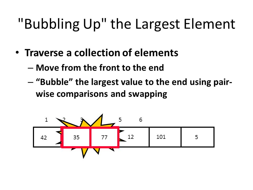 Bubbling Up the Largest Element Traverse a collection of elements – Move from the front to the end – Bubble the largest value to the end using pair- wise comparisons and swapping Swap 3577
