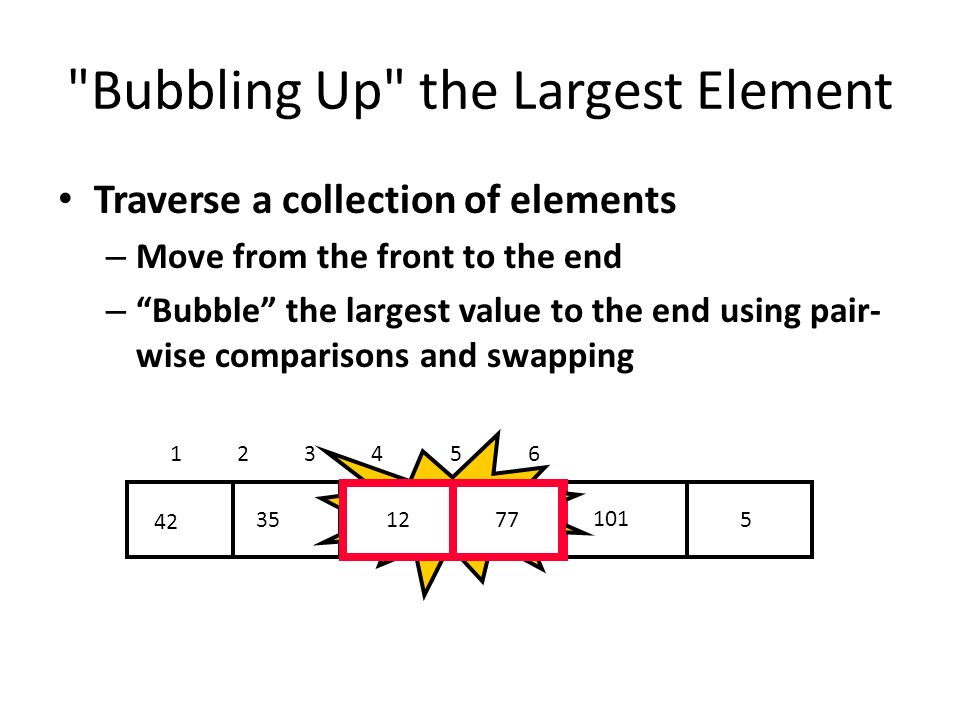 Bubbling Up the Largest Element Traverse a collection of elements – Move from the front to the end – Bubble the largest value to the end using pair- wise comparisons and swapping 5 12 7735 42 101 1 2 3 4 5 6 Swap 1277