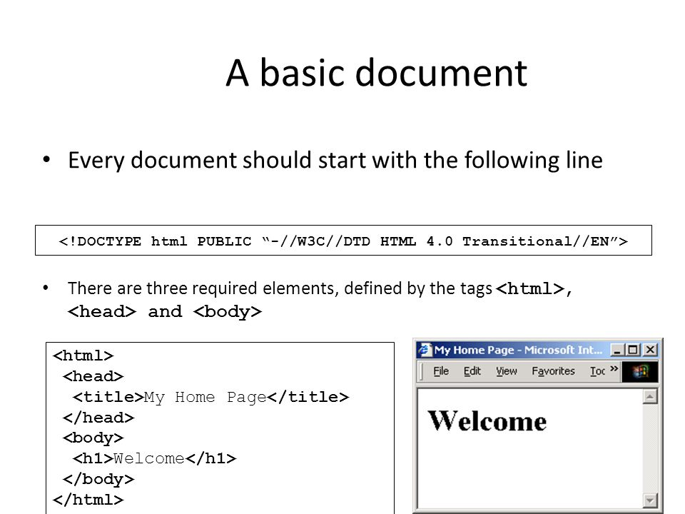 A basic document Every document should start with the following line There are three required elements, defined by the tags, and My Home Page Welcome