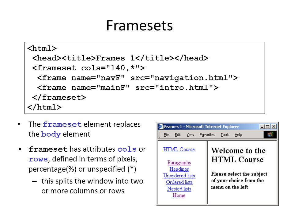 Framesets The frameset element replaces the body element frameset has attributes cols or rows, defined in terms of pixels, percentage(%) or unspecifie