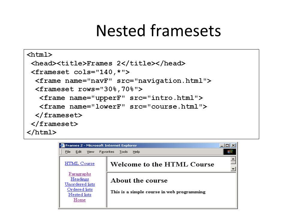 Nested framesets Frames 2