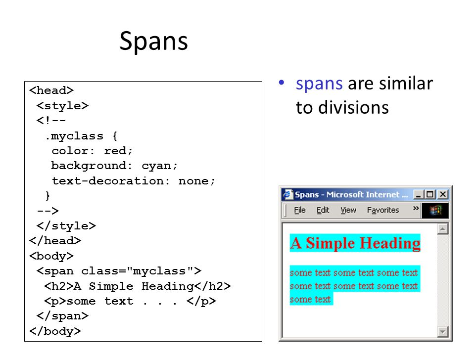 Spans spans are similar to divisions <!--.myclass { color: red; background: cyan; text-decoration: none; } --> A Simple Heading some text...