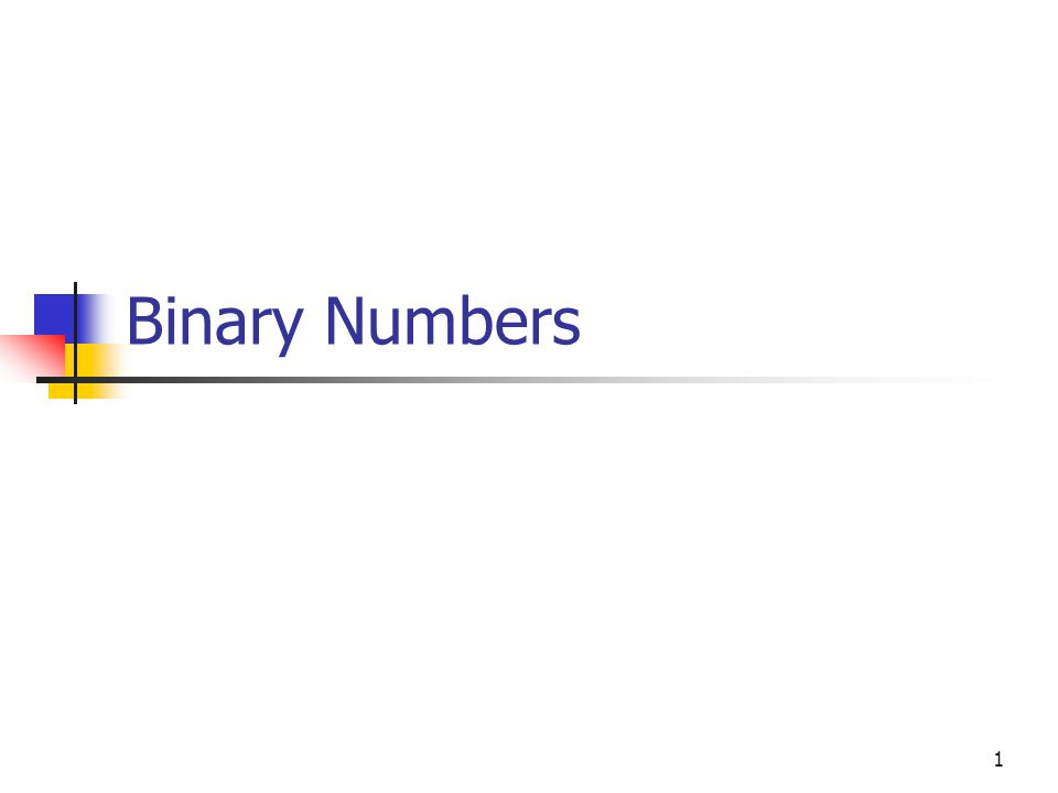 1 Binary Numbers