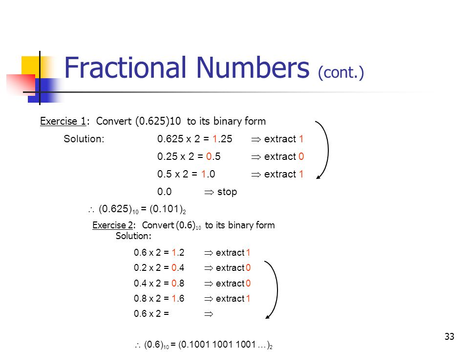 33 Fractional Numbers (cont.) Exercise 2: Convert (0.6) 10 to its binary form Solution: Exercise 1: Convert (0.625)10 to its binary form Solution: 0.6
