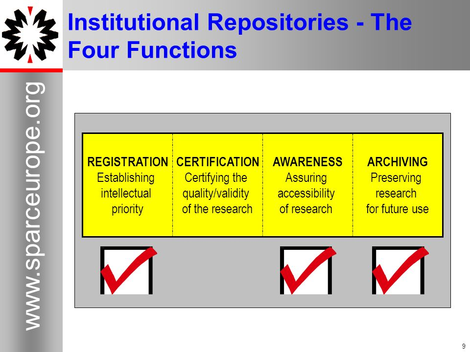 9 www.sparceurope.org 9 Institutional Repositories - The Four Functions ARCHIVING Preserving research for future use AWARENESS Assuring accessibility