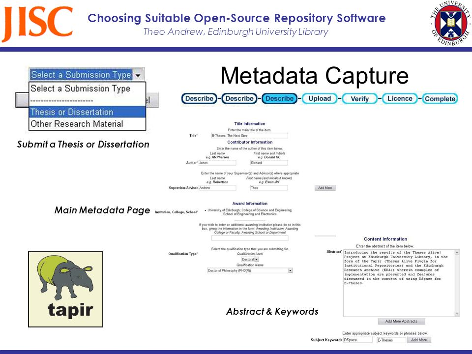 Theo Andrew, Edinburgh University Library Choosing Suitable Open-Source Repository Software Metadata Capture Submit a Thesis or Dissertation Main Metadata Page Abstract & Keywords