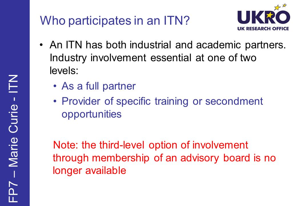 Who participates in an ITN? FP7 – Marie Curie - ITN An ITN has both industrial and academic partners. Industry involvement essential at one of two lev