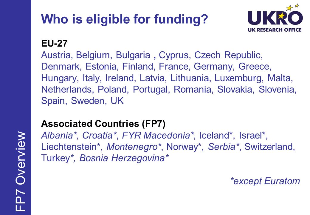 International Outgoing Fellowships FP7 – Marie Curie Actions EU Member or Associated State Nationals only PLUS non-nationals in MS/AC for more than 5 years at deadline 24 – 36 months in total of which 12 -24 months in third country followed by mandatory reintegration phase in European host institutions Individual applies with host Acquiring new knowledge in the third country – bringing it back to the EU/AS Contract is between European host institution and Commission for duration of fellowship Mandatory return phase of 1 year