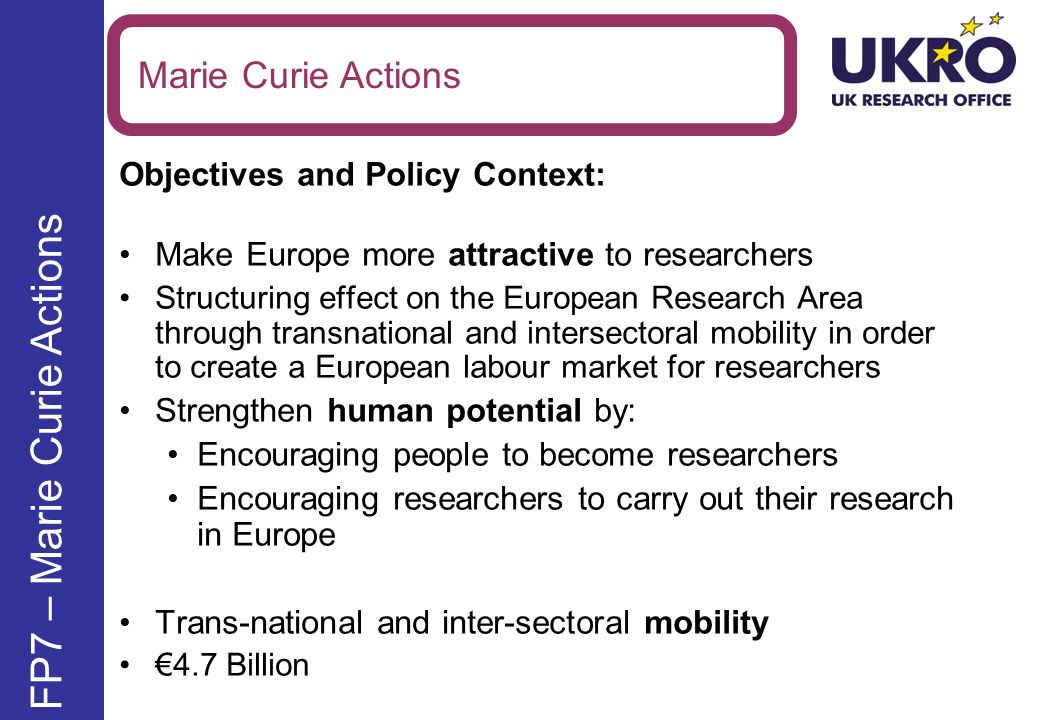 Overview of Marie Curie Actions People Specific Programme Host ActionsIndividual Actions Initial Training Networks Industry Academia Partnerships and Pathways International Research Staff Exchange Scheme Intra- European Fellowships International Incoming Fellowships International Outgoing Fellowships New.