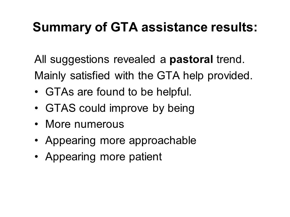 Summary of GTA assistance results: All suggestions revealed a pastoral trend.