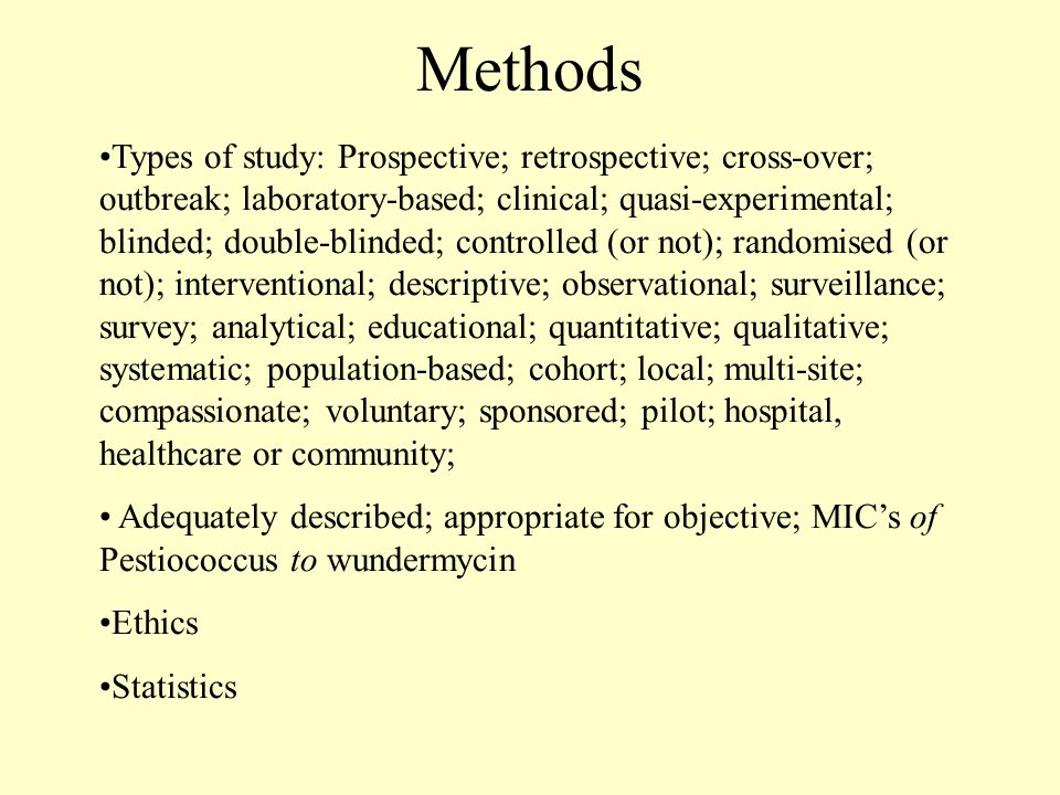 Methods Types of study: Prospective; retrospective; cross-over; outbreak; laboratory-based; clinical; quasi-experimental; blinded; double-blinded; con