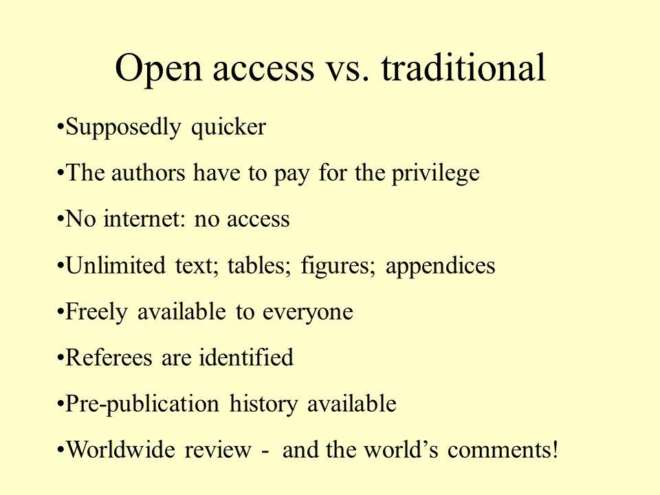 Open access vs.