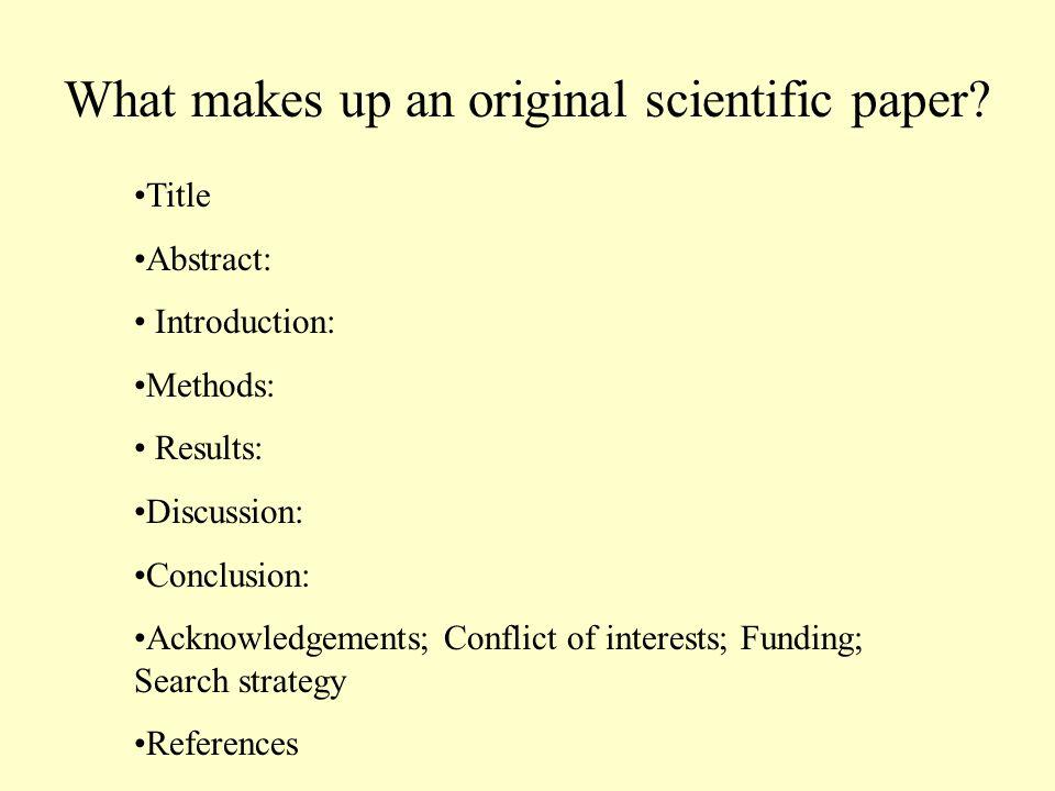 What makes up an original scientific paper.