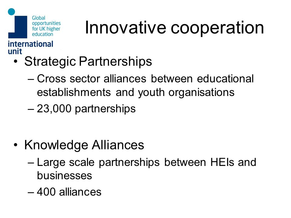 Innovative cooperation Strategic Partnerships –Cross sector alliances between educational establishments and youth organisations –23,000 partnerships