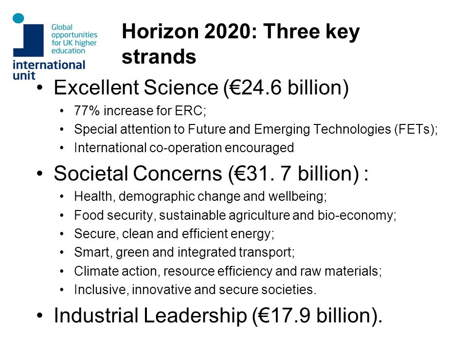 Horizon 2020: Three key strands Excellent Science (24.6 billion) 77% increase for ERC; Special attention to Future and Emerging Technologies (FETs); I