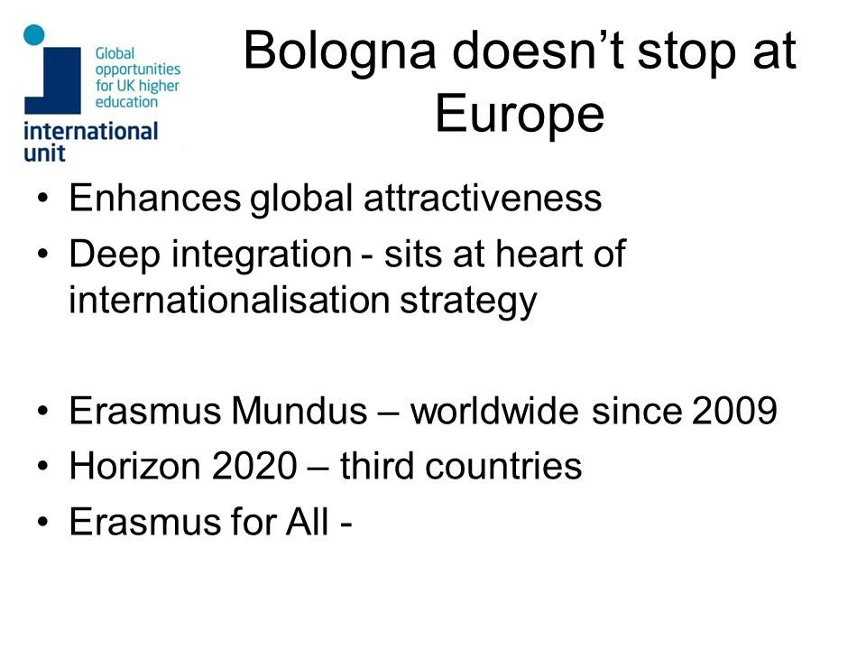 Bologna doesnt stop at Europe Enhances global attractiveness Deep integration - sits at heart of internationalisation strategy Erasmus Mundus – worldw