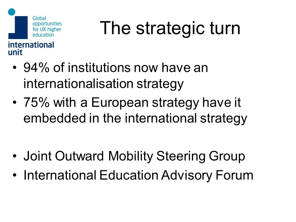 The strategic turn 94% of institutions now have an internationalisation strategy 75% with a European strategy have it embedded in the international st