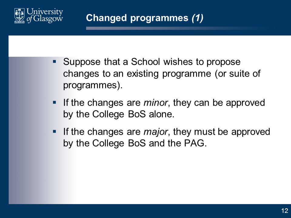 12 Changed programmes (1) Suppose that a School wishes to propose changes to an existing programme (or suite of programmes).
