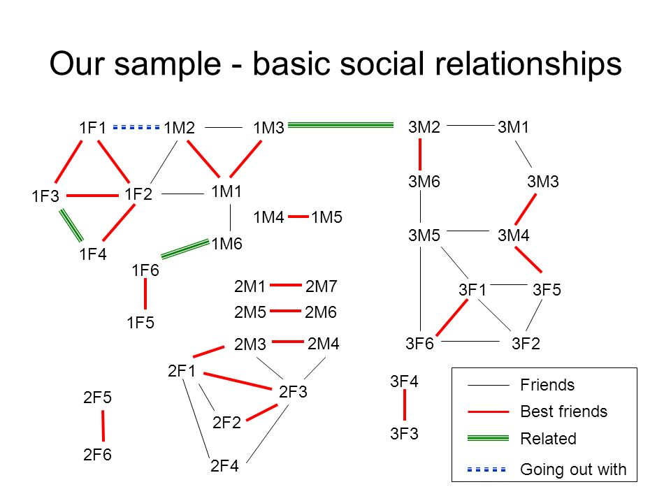 2F4 Our sample - basic social relationships 1F3 2M72M1 2M52M6 2F5 2F6 2F1 2F2 2F3 2M4 2M3 3M13M2 3M33M6 3F3 3F4 1M1 1M21M3 1M6 1F1 1F2 1F4 1F5 1F6 1M4
