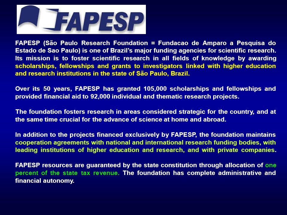 FAPESP (São Paulo Research Foundation = Fundacao de Amparo a Pesquisa do Estado de Sao Paulo) is one of Brazils major funding agencies for scientific research.